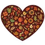 Vector doodle cartoon set of Autumn objects Royalty Free Stock Photos