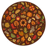 Vector doodle cartoon set of Autumn objects Royalty Free Stock Photography