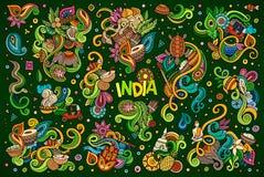 Vector doodle cartoon set of Indian designs Stock Photos
