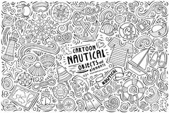 Vector doodle cartoon set of Nautical objects. Line art vector hand drawn doodle cartoon set of Nautical theme items, objects and symbols stock illustration