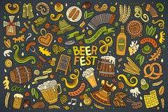 Vector doodle cartoon set of Oktoberfest objects and symbols Royalty Free Stock Photos