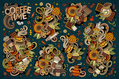 Vector doodle cartoon set of tea and coffe Stock Images