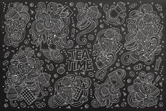 Vector doodle cartoon set of tea and coffee Royalty Free Stock Photos