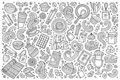 Vector doodle cartoon set of tea and coffee Stock Images