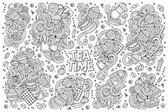 Vector doodle cartoon set of tea and coffee Stock Photography