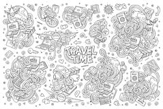 Vector doodle cartoon set of travel theme items. Line art vector hand drawn doodle cartoon set of travel planning theme items, objects and symbols Stock Images