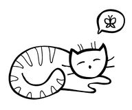 Vector doodle cat. Hand drawn cat dreaming about butterfly Stock Photos