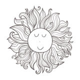 Vector doodle celestial illustration. Hand drawn cute funny character sun. Royalty Free Stock Photography