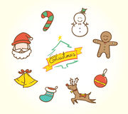 Vector :Doodle Christmas icon set in vintage color style Stock Photos