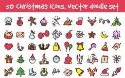 Vector doodle christmas icons set. Stock cartoon signs for design Royalty Free Stock Photography