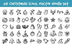 Vector doodle christmas icons set Royalty Free Stock Images