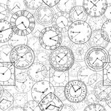 Vector doodle clock, seamless background Royalty Free Stock Photos