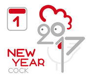 Vector doodle cock with 2017 new year. Vector of doodle rooster with 2017 new year and year of the rooster. Vector cartoone illustration. Happy new year concept Stock Images