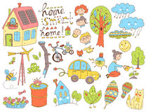 Vector doodle cute collection of ecology and family. Nature, alt Royalty Free Stock Image