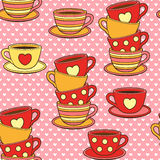 Vector doodle cute cups. Seamless pattern for gift wrapping, congratulations, wedding invitations and Valentine`s Day Stock Photos