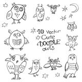 10 vector doodle cute funny owls. A rough sketches stock illustration