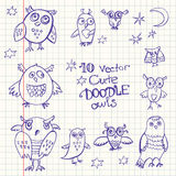 10 vector doodle cute funny owls. A rough sketches Royalty Free Stock Images
