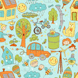 Vector doodle cute seamless pattern of ecology and family. Natur Royalty Free Stock Image