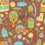 Vector doodle cute seamless pattern of ecology and family. Natur Royalty Free Stock Images