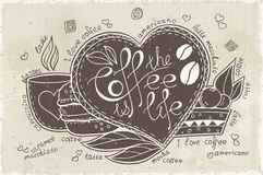 Vector doodle drawn hand with lettering coffee is life Royalty Free Stock Photos