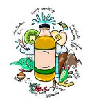 Vector doodle drinking bottle with natural ingredients. Royalty Free Stock Image