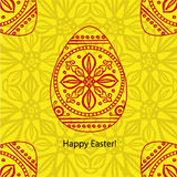 Vector doodle  Easter card. Original decorative red illustration Royalty Free Stock Images