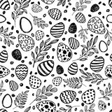 Vector doodle Easter seamless pattern. Black white watercolor, ink illustration of easter eggs and leaves Royalty Free Stock Photos