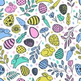 Vector doodle Easter seamless pattern. Colorful watercolor, ink illustration of easter eggs, rabbit, leaves Royalty Free Stock Image