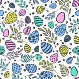Vector doodle Easter seamless pattern. Colorful watercolor, ink illustration of easter eggs and leaves Royalty Free Stock Images