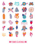 Vector doodle elements, flowers and animals, leaf, cat, owl. Childish elements for your design Royalty Free Stock Photos