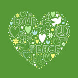 Vector doodle elements on love and peace theme in heart shape Royalty Free Stock Photos