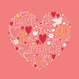 Vector doodle elements on love and peace theme in heart shape Stock Photos