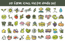 Vector doodle farm icons set. Stock cartoon signs for design Royalty Free Stock Photography