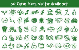 Vector doodle farm icons set. Stock cartoon signs for design Royalty Free Stock Photos