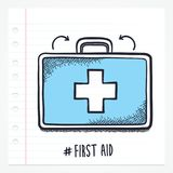 Vector Doodle First Aid Icon. Vector doodle first aid kit icon illustration with color, drawn on lined note paper Stock Photography