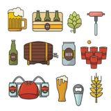 Vector doodle flat icons. Set of beer symbols. Beer helmet, mug, glass, sausage, barrel, beer pong Royalty Free Stock Photography