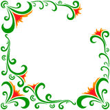 Vector doodle flowers frame. Vector doodle red green flowers frame Stock Photo