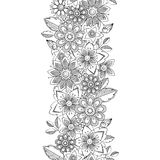 Vector doodle flowers seamless border. Botanical and flower decorative element Royalty Free Stock Photo
