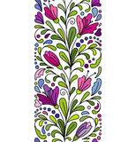 Vector doodle flowers seamless border. Zentangle style decorative element. Colorful hand draw pattern. Stock Photos