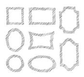 Vector doodle frames. Set of sketching geometric form frames. St Stock Photo