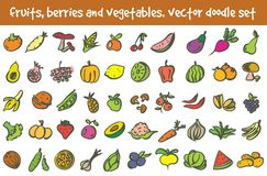 Vector doodle fruits, berries and vegetables icons set. Stock cartoon signs for design vector illustration