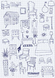 Vector doodle furniture Royalty Free Stock Photo