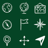 Vector Doodle Geography Icons Set Royalty Free Stock Image