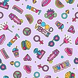 Vector doodle girly party seamless pattern, texture or background.  vector illustration