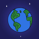 Vector doodle globe icon, hand drawn earth with stars isolated on space background Stock Photos