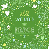 Vector doodle green love and peace theme background with quote a Royalty Free Stock Photos