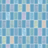 Vector doodle grid repeat pattern in pastel colors. Pastel color grid repeat pattern with rectangles. Doodle line art seamless vector background