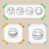 Vector Doodle Hand Drawn Smiley Faces on Paper Pieces Attached by Colorful Tape, Set. Vector Doodle Hand Drawn Smiley Faces on Paper Pieces Attached by Colorful vector illustration