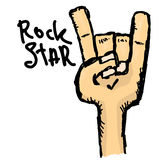Vector doodle hand sign rock n roll music Royalty Free Stock Images