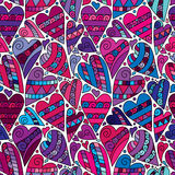 Vector Doodle Hearts Seamless Pattern Background With Many Hand Drawn Hearts. Stock Photography